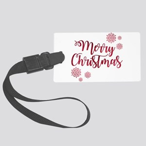 Merry Christmas Red Glitter Scri Large Luggage Tag