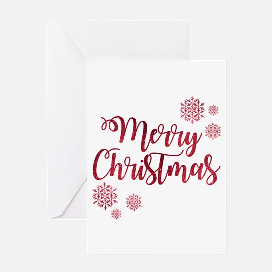 Merry Christmas Red Glitter Script Greeting Cards