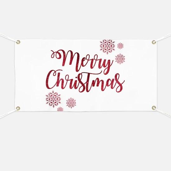 Merry Christmas Red Glitter Script Snowflak Banner