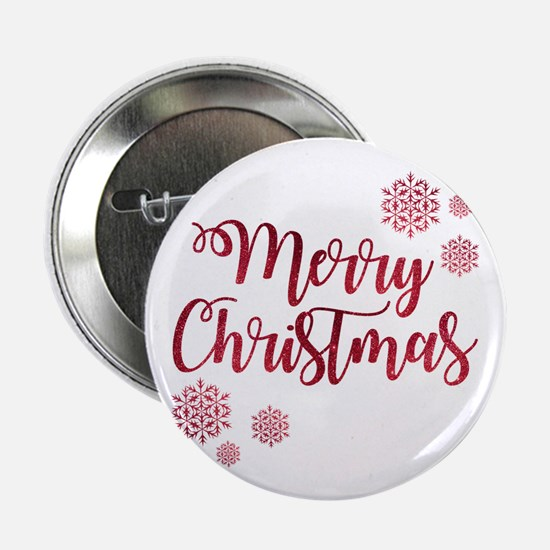 "Merry Christmas Red Glitter 2.25"" Button (10 pack)"