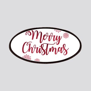 Merry Christmas Red Glitter Script Snowflake Patch