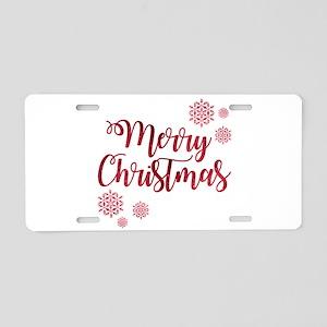 Merry Christmas Red Glitter Aluminum License Plate