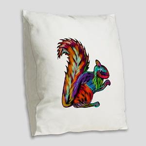 SQUIRREL Burlap Throw Pillow