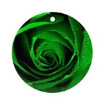 Green Rose Round Ornament