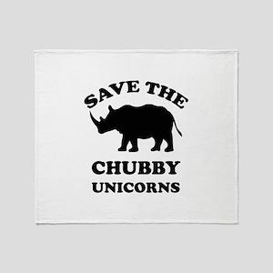 Save the chubby unicorns t-shirt Throw Blanket