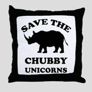 Save the chubby unicorns t-shirt Throw Pillow