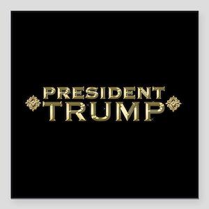 """President Trump Full Ble Square Car Magnet 3"""" x 3"""""""