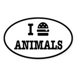 I Love To Eat Animals Sticker (Oval)