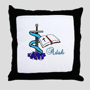 Adah Sword Veil Violet Bible Throw Pillow