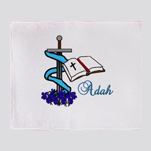 Adah Sword Veil Violet Bible Throw Blanket