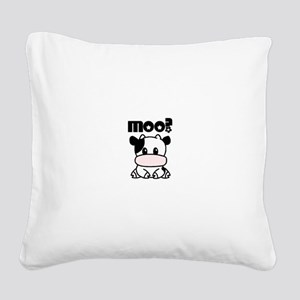 Cute Moo? Square Canvas Pillow