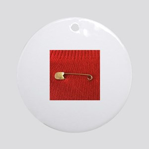 Gold Safety Pin Round Ornament