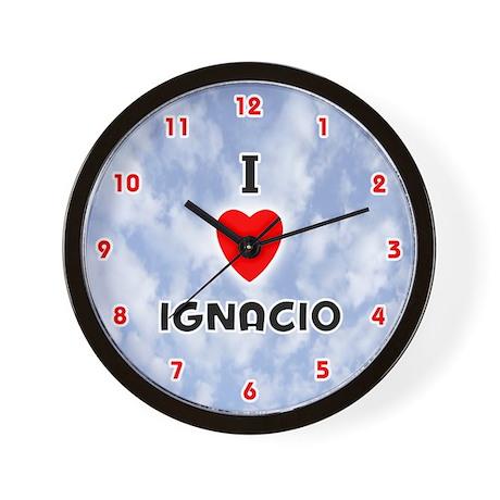 I Love Ignacio (Red/Blk) Valentine Wall Clock