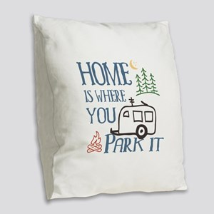 Camper Home Burlap Throw Pillow