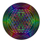Sacred Geometry Rainbow Glyph Round Car Magnet