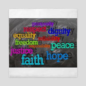 Rainbow Moral Words Queen Duvet