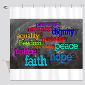 Rainbow Moral Words Shower Curtain