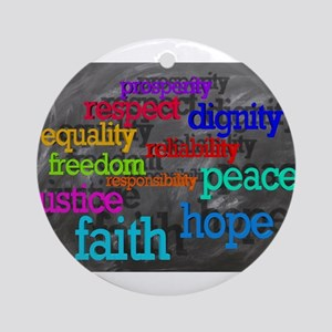 Rainbow Moral Words Round Ornament
