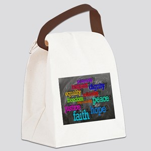 Rainbow Moral Words Canvas Lunch Bag