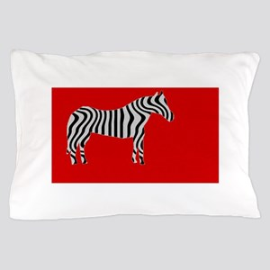 Zebra Cut Out on Red Pillow Case