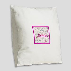 Jamie- unicorn princess Burlap Throw Pillow