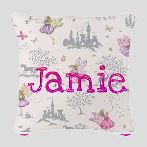 Jamie- unicorn princess Woven Throw Pillow