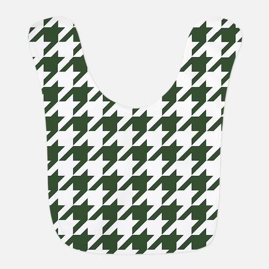 Green, Pine: Houndstooth Checke Polyester Baby Bib