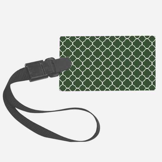 Green, Pine: Quatrefoil Clover P Luggage Tag