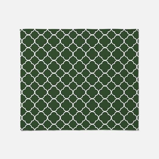 Green, Pine: Quatrefoil Clover Patte Throw Blanket