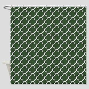 Green, Pine: Quatrefoil Clover Patt Shower Curtain