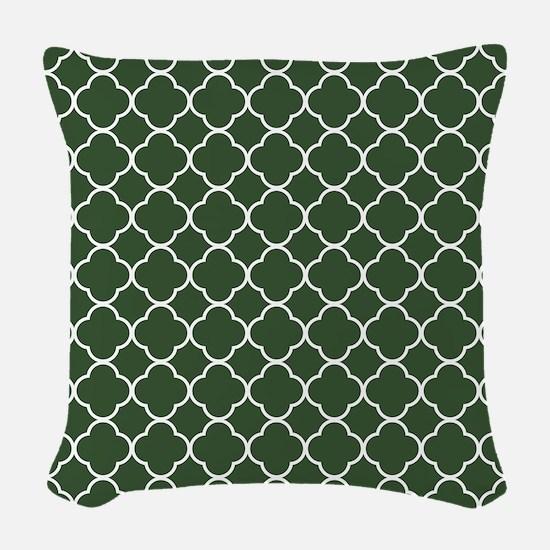 Green, Pine: Quatrefoil Clover Woven Throw Pillow