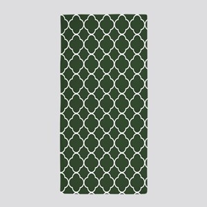 Green, Pine: Quatrefoil Clover Pattern Beach Towel