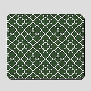 Green, Pine: Quatrefoil Clover Pattern Mousepad