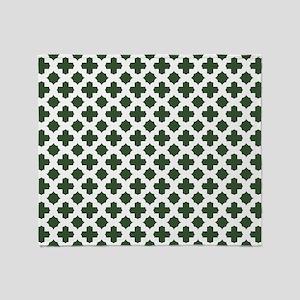 Green, Pine: Quatrefoil Stars & Cros Throw Blanket