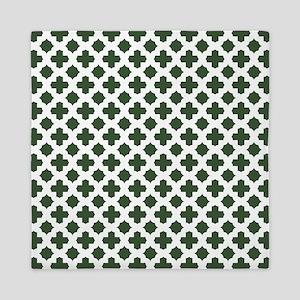 Green, Pine: Quatrefoil Stars & Crosse Queen Duvet