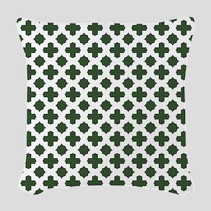 Green, Pine: Quatrefoil Stars Woven Throw Pillow