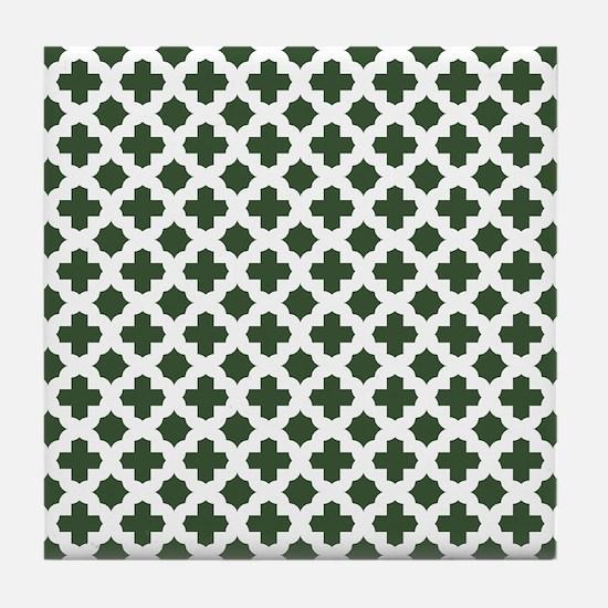 Green, Pine: Quatrefoil Stars & Cross Tile Coaster