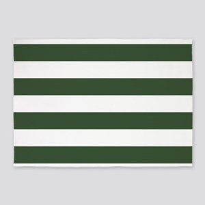 Green, Pine: Stripes Pattern (Horiz 5'x7'Area Rug