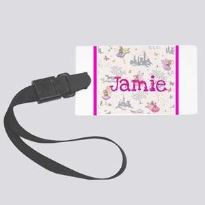 Jamie- unicorn princess Large Luggage Tag