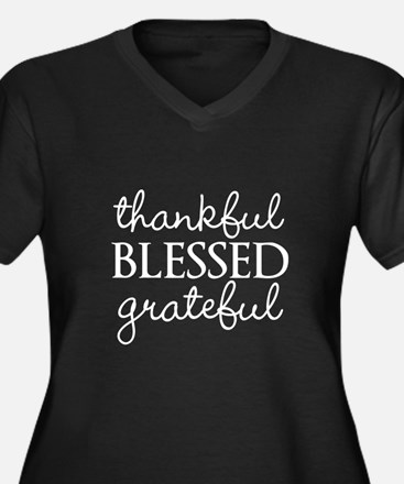 thankful BLESSED grateful Plus Size T-Shirt