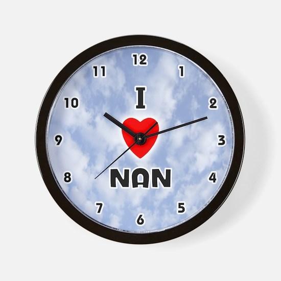 I Love Nan (Black) Valentine Wall Clock