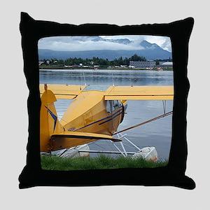 Float plane 6, Lake Hood, Anchorage, Throw Pillow