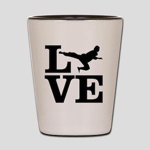 i love taekwondo Shot Glass