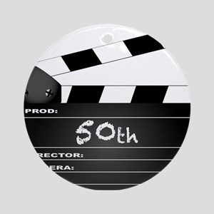50th Year Clapperboard Round Ornament