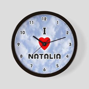 I Love Natalia (Black) Valentine Wall Clock