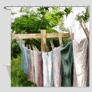 Clothesline Shower Curtain