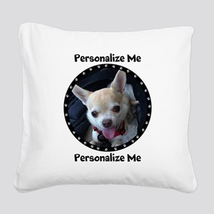 Personalized Paw Print Square Canvas Pillow