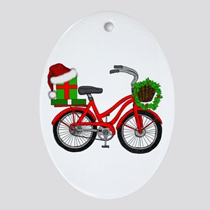 Christmas Bicycle Oval Ornament