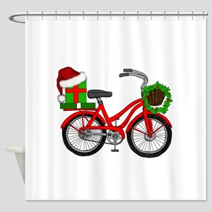 Christmas Bicycle Shower Curtain