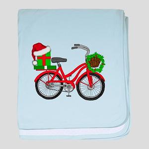 Christmas Bicycle baby blanket